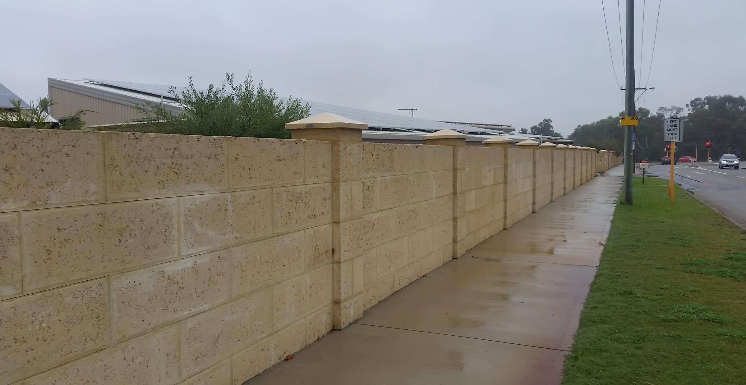 Limestone privacy/noise wall in Perth | Limestone Walls Perth